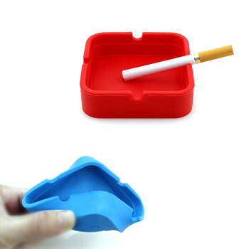 Fashion Household Small Items Silicone Square Ashtray Cigarette Smoke Smoking Ash Tray Stackable Home PubFashion Household Small image