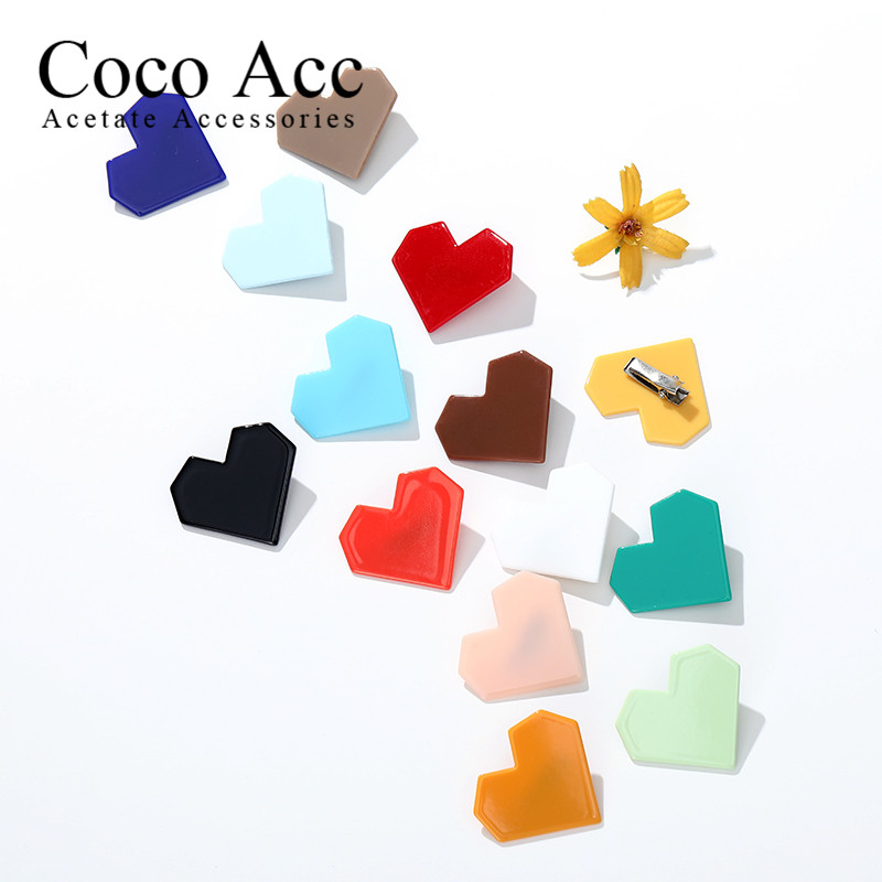 Hair Accessories Kids Acrylic Candy Heart Shaped For Girls Solid Hair Clips Baby Mini Hairpins Handmade Barrettes Headwear