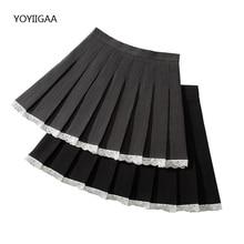 Black Women Pleated Skirt Patchwork Woman Skirts High Waist A-Line Ladies Girls Dance Skirt Kawaii Harajuku Female Mini Skirts