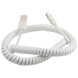 Image 3 - 10FT/3M Flat Spiral Coiled USB 2.0 to Mini USB Data Sync & Charge Cable White Color