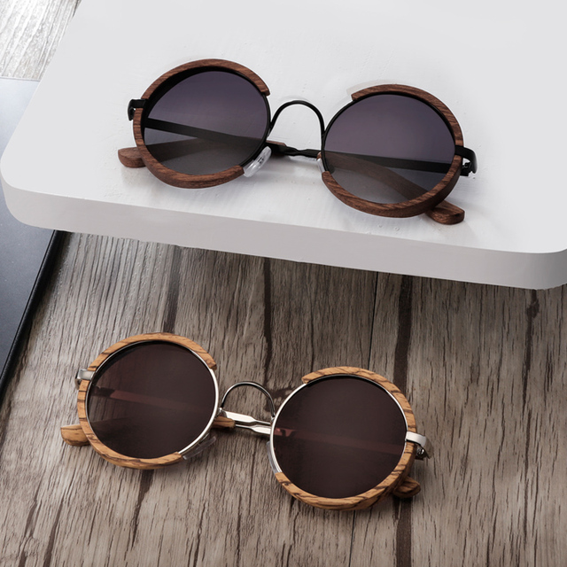Unisex Round Polarized Wooden Sunglasses