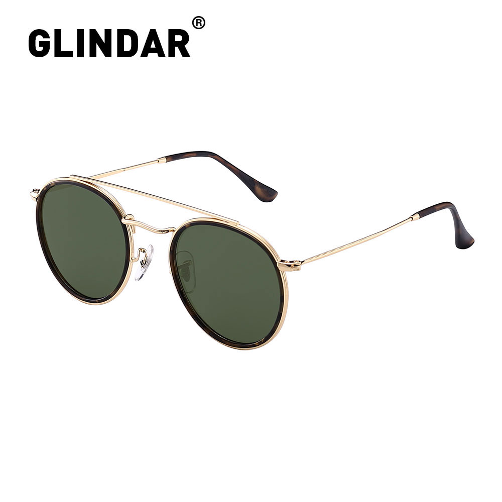 Retro Polarized Round Sunglasses For Men Women Vintage Double Bridge Frame Driving Sun Glasses UV400