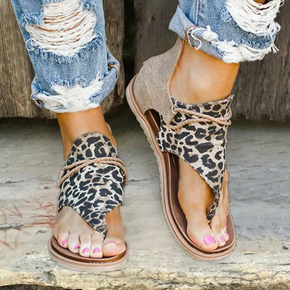 Summer Women Flats Sandals Fashion Strap Leopard PU Leather Bohemia Shoes Casual Open Toe Roman Gladiator Flip Flops Sandals