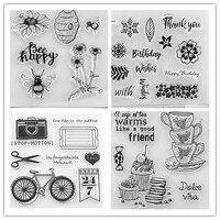 WYSE Tee Blume klar Briefmarken Liebe Transparent Silikon Stempel für die karte DIY Scrapbooking löwenzahn Briefmarken glücklich Geburtstag|Stempel|Heim und Garten -