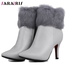 SARAIRIS Plus Size 33-47 Mature Faux Fur Boots Ladies Pointed Toe Ankle Boots Women 2019 Winter High Heels OL Shoes Woman