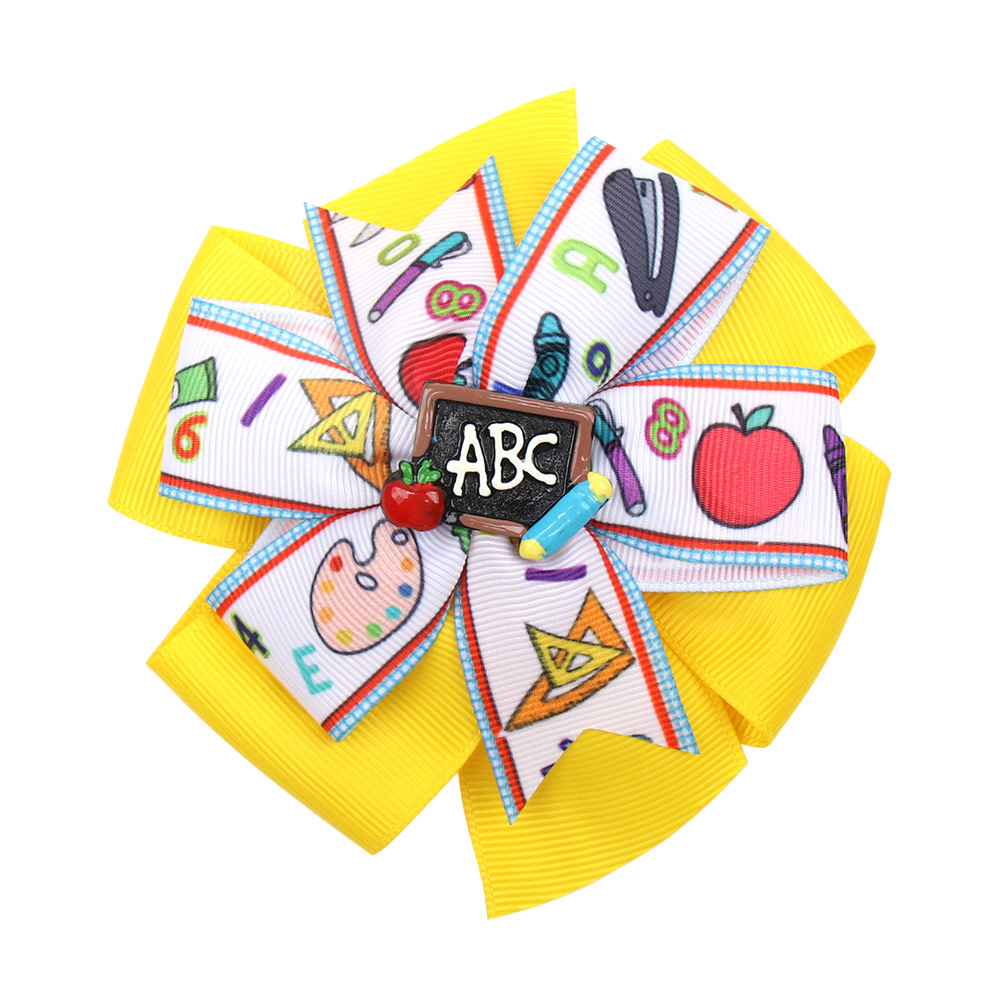 4 5 39 39 Double Layered Hair Bows for Girls Hair Clips Back To School Cartoon Pencil Ribbons Bow Hairgrips Kids Hair Accessories in Hair Accessories from Mother amp Kids