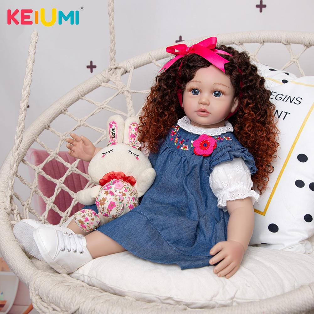 New Design Density Curls As Princess Reborn Baby Dolls Lifelike 60 CM Toddler Bebe Dolls Toy