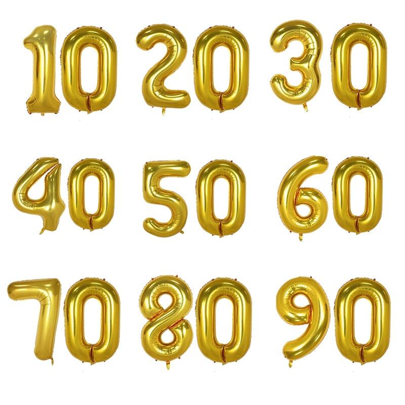 Большие фольгированные шары в форме цифр, 2 шт., 32 Дюйма, 10/20/30/40/50/60/70/80