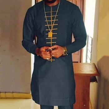 Moroccan Caftan Men Shirt Black Islam Muslim Print Round Neck Long Sleeve Mid-Length Casual Color Block Men's Clothing Tops 2021 Summer 2
