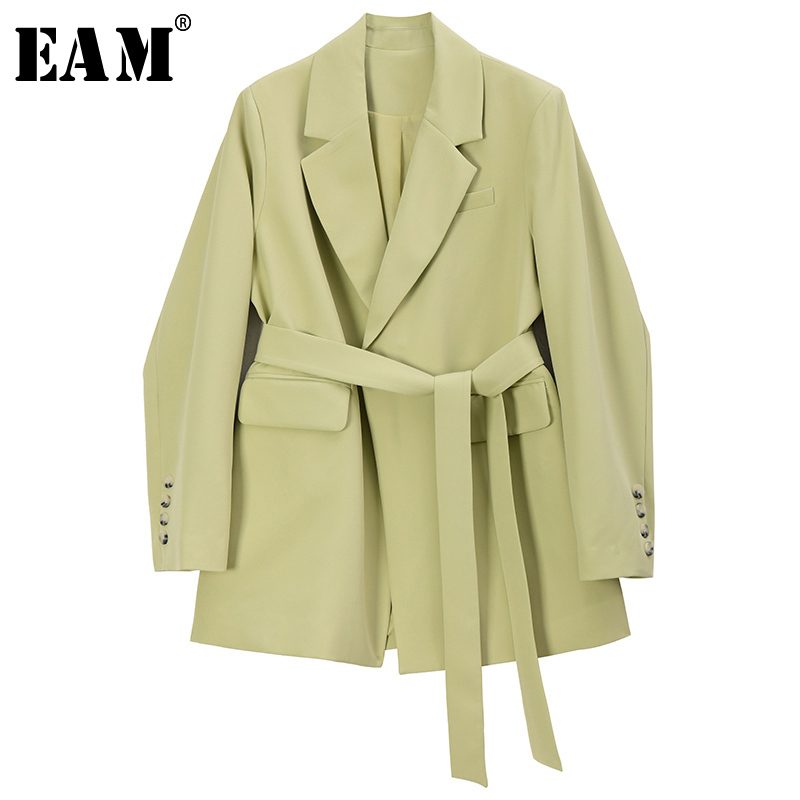 [EAM]  Women Bandage Stitch Big Size Blazer New Lapel Long Sleeve Loose Fit  Jacket Fashion Tide Spring Autumn 2020 1S202