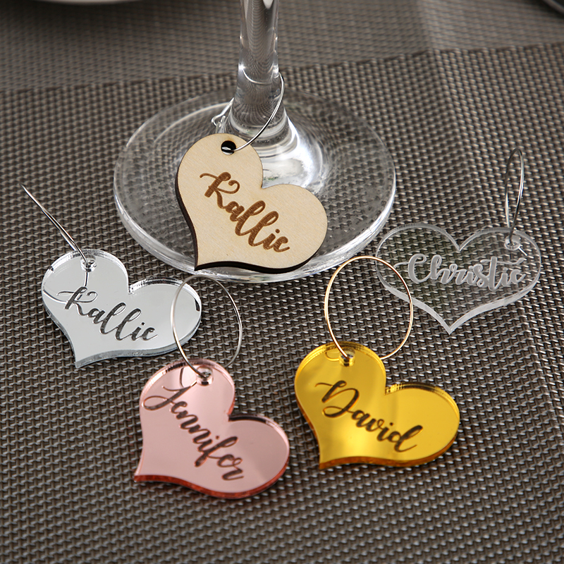 Personalized Wine Charms Wedding Guest Wine Tags Birthday Party Wine Tags Anniversary Party Wine Charm Party Guest Favor