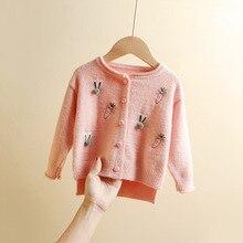 Детский свитер в Корейском стиле; коллекция года; сезон осень-зима; вязаный кардиган для девочек; Детский свитер; пальто из искусственного меха норки и кашемира