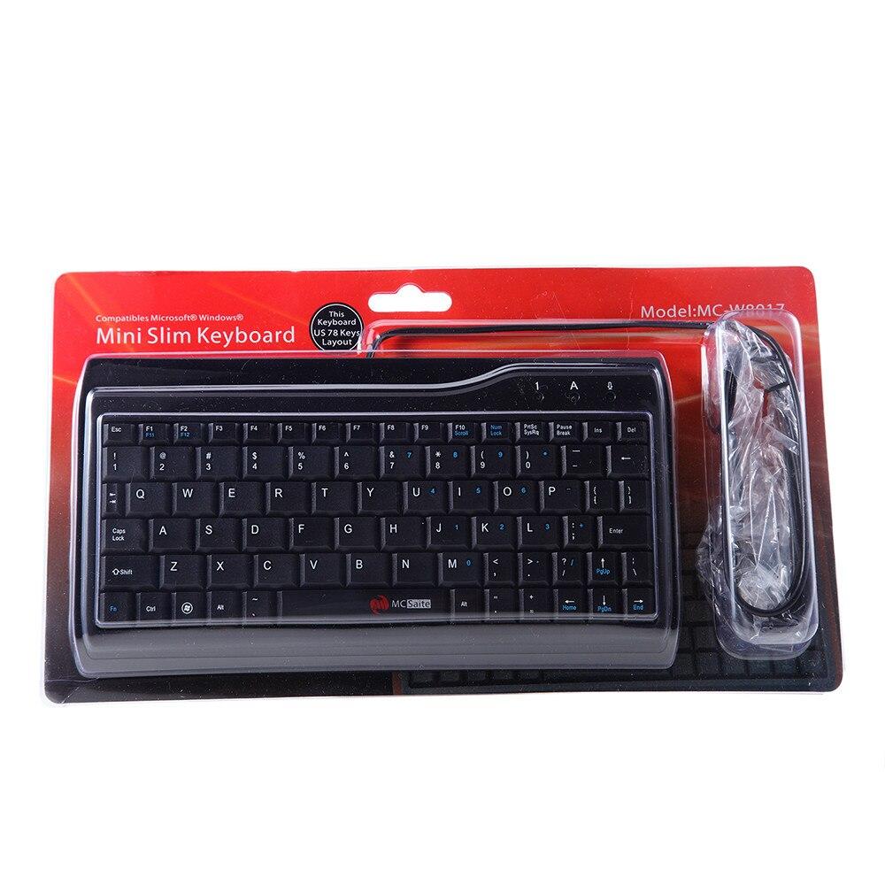 MC-Siate Ultra Slim 78 Key Wired USB Mini PC Keyboard for PC Apple Mac Laptop Desktop Office Entertainment Laptop Silent Keys-0