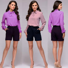 Elegant Bow Tie Women Shirt Nice Spring Lady Solid Long Sleeve Chiffon Sexy Stand Collar Shirts Casual Blouses Vintage Clothes(China)