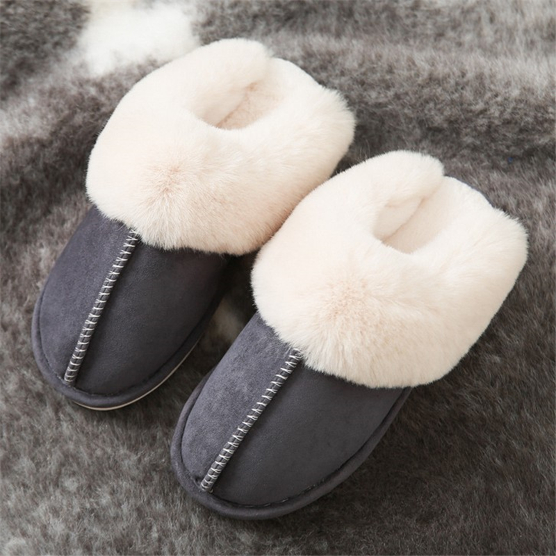 JIANBUDAN Indoor plush comfortable soft slippers Men and women winter warm home shoes Flat suede plush Female Cotton shoes 3