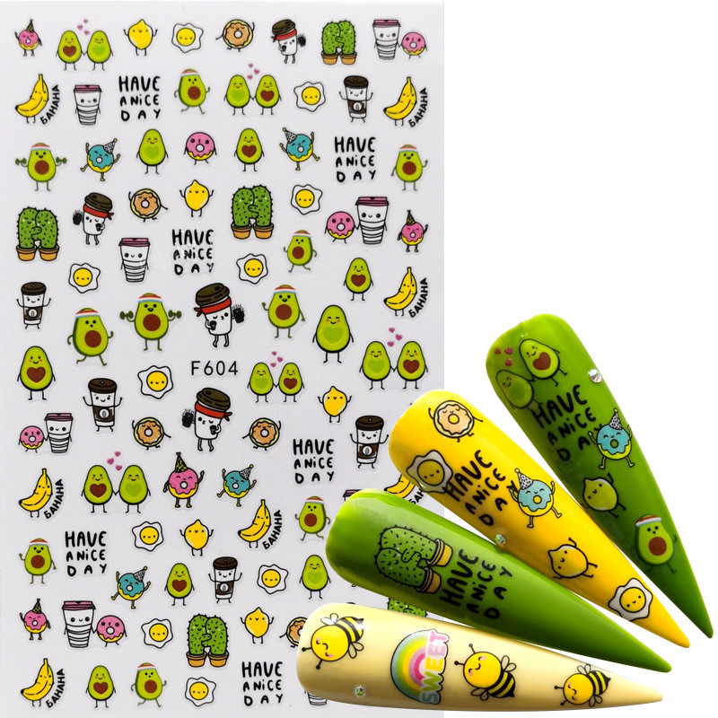 1 PC Comic Adhesive 3D Nail Sticker Foil Decals For Nails Sticker Art Cartoon Nail Art Decorations Designs Tool