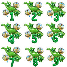 6pcs/lot Green Tanystropheus Foil Balloons Boy Dinosaur Balloon with Number Balls Jurassic World Birthday Party Decorations Kids