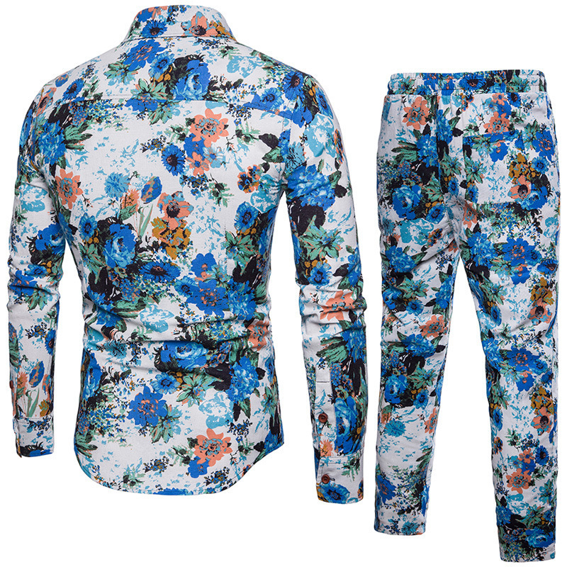 Mens New Hawaiian Floral Printed Two Piece Set Suit Long Sleeve Shirts Sweatpants Conjunto Large Size 5XL Cotton Linen Male Suit