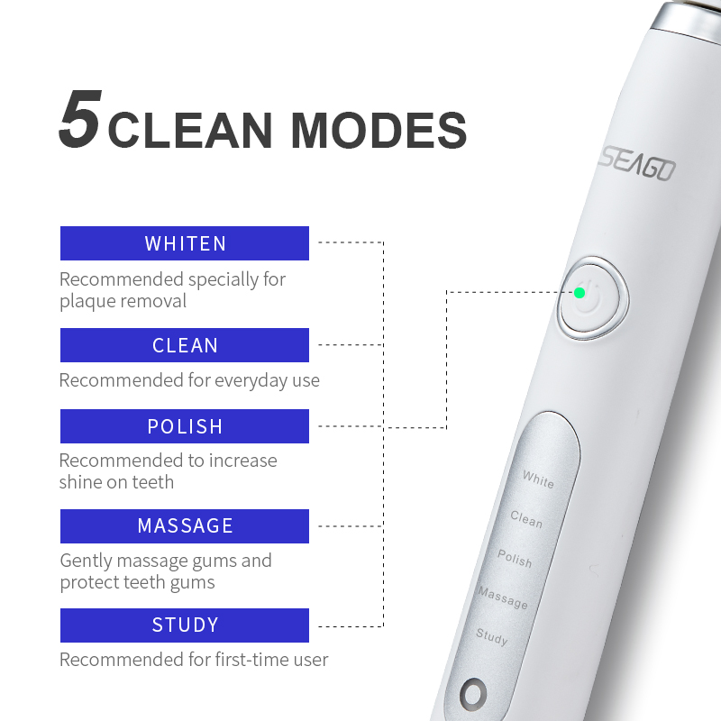 SEAGO Sonic Electric Toothbrush Upgraded Adult Waterproof Ultrasonic Rechargeable Toothbrush Whitening Healthy Gift SG-986