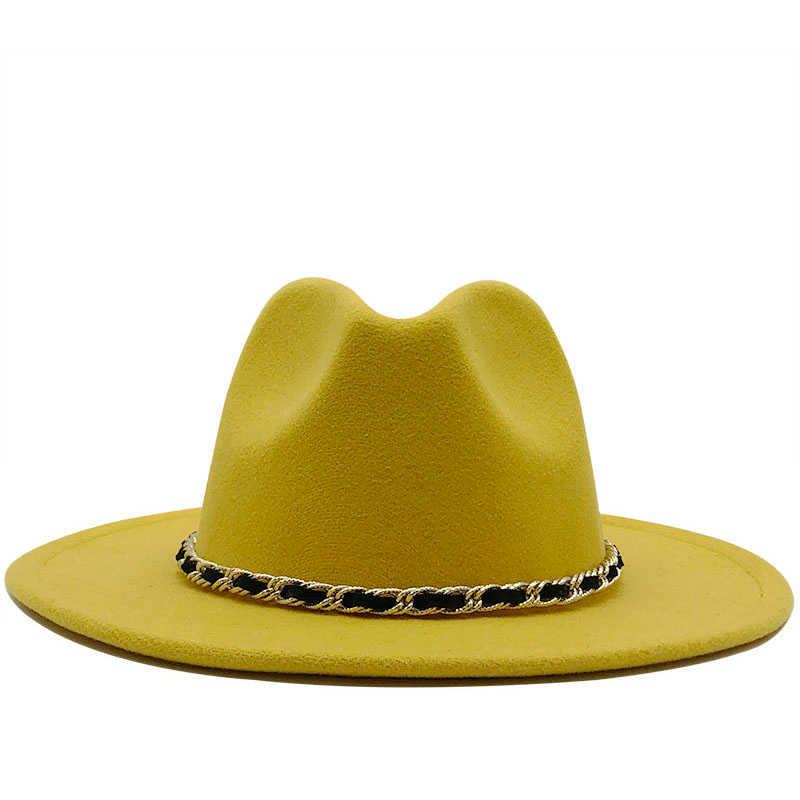 Wanita Pria Topi Wol Merasa Jazz Fedora Topi Panama Gaya Koboi Trilby Pesta Formal Gaun Topi Ukuran Besar Kuning putih