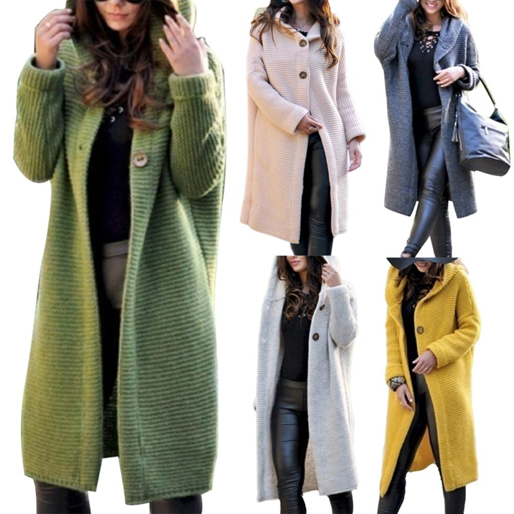 2019 New Arrival Women Autumn Winter Solid Color Button Cardigan Sweater Midi Hooded Coat Outwear