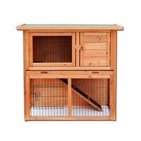 36 Waterproof 2 Tiers Pet Rabbit Hutch Chiken Coop Cage Hen House Wood Color