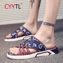 цена на CYYTL 2020 New Slippers Men Casual Comfortable Slippers Non-slip Slides Soft Bottom Thick Bottom Flip Flops Sandals Beach Shoes