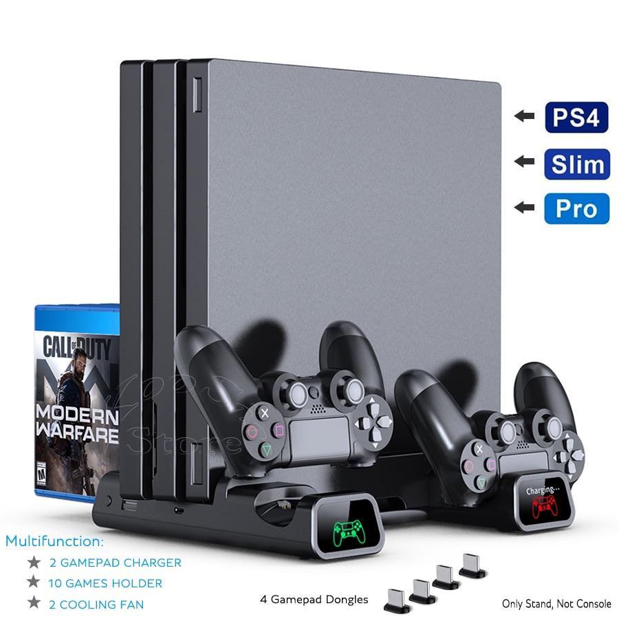 PS4/ PS4 Pro/ PS4 Slim Console Verticale di Raffreddamento Stand Regolatore di Carica Dock 2 di Raffreddamento 10 Giochi di Stoccaggio per sony Playstation 4