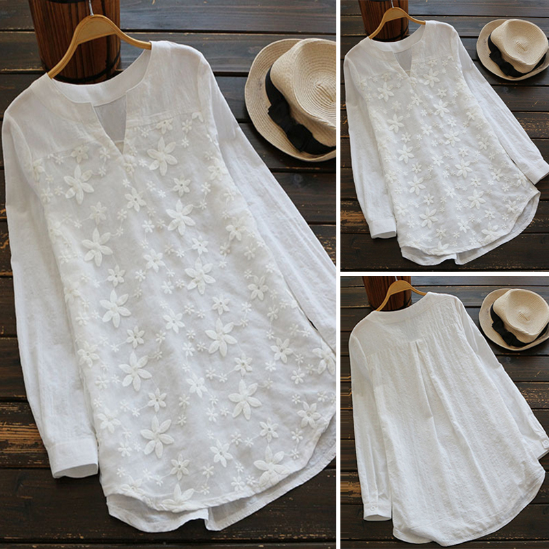 2019 Summer Autumn Hot Blouse Women Lace Long Sleeve Tops V Neck Embroidery Loose Plus Size S-5XL Elegant Shirt Blusas Female