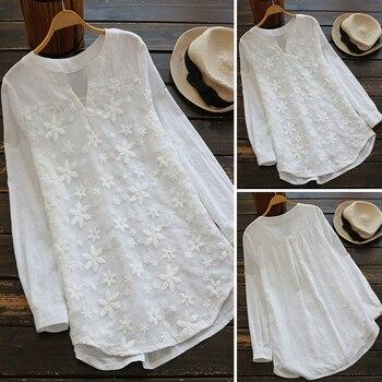 2019 Summer Autumn Hot Blouse Women Lace Long Sleeve Tops V Neck Embroidery Loose Plus Size S-5XL Elegant Shirt Blusas Female цена 2017