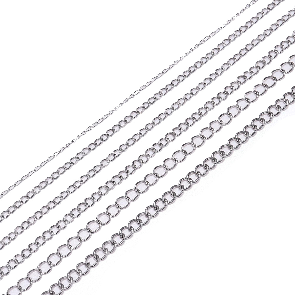 5M/Lot Stainless Steel Necklaces Chains 1.2 2.2 2.4 3.0 4.0mm Bulk Jewellery Chain For DIY Jewelry Making Findings Accessories