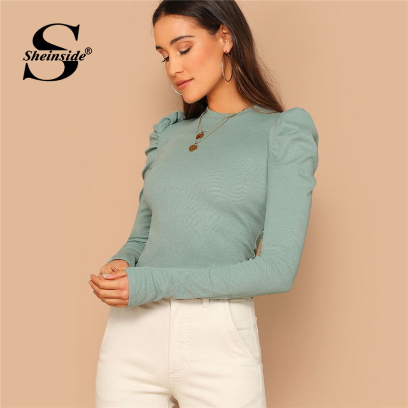 Sheinside Green T-shirt Women Puff Sleeve Rib-knit Tee Shirt Femme Top 2019 Fall Slim Fit Tees Elegant Womens Long Sleeve Tops