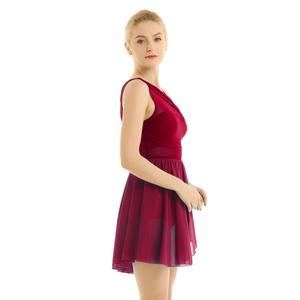 Image 2 - Балетные гимнастические леотарды для взрослых и женщин, платье пачка для танцев, женские балерины, современные лирические танцевальные юбки, одежда из шифона