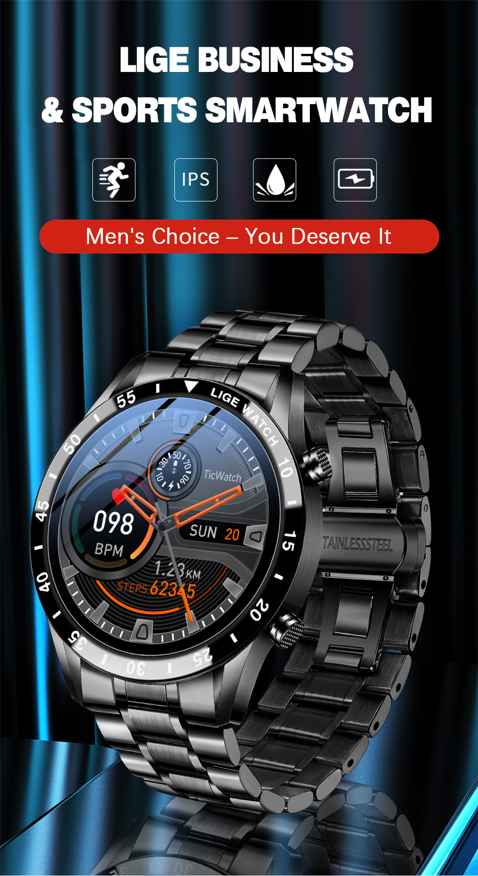 Hf6838ef579f34b6487c262516e9714f0o LIGE New Men Smart watch Heart rate Blood pressure IP68 waterproof sports Fitness watch Luxury Smart watch male for iOS Android