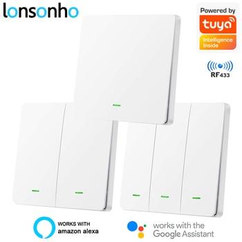Lonsonho RF433 + Wifi Smart Light Switch EU Tuya Smartlife App Wireless Remote Control Push Button Wall Alexa Google Home - discount item  35% OFF Electrical Equipment & Supplies