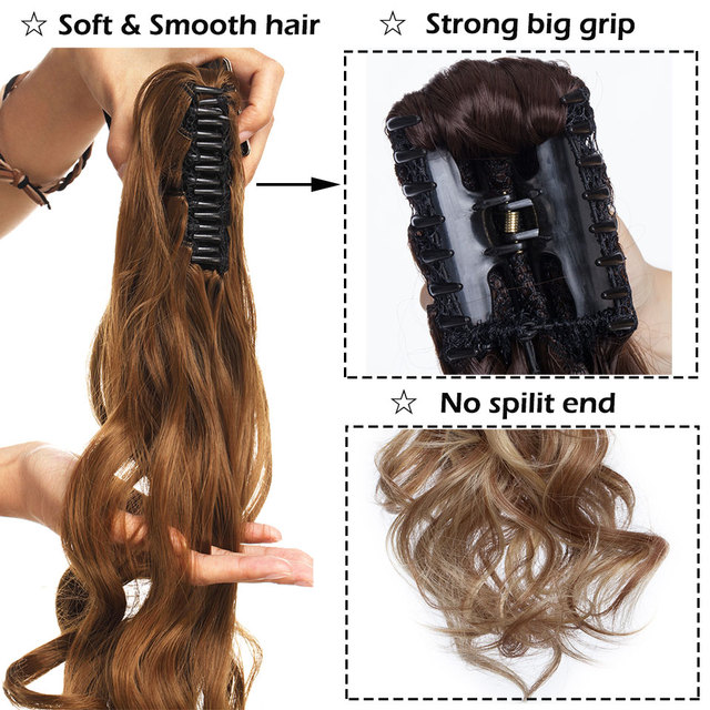 S-noilite 12-26inch claw clip on ponytail hair extension synthetic ponytail enxtension hair for women pony tail hair hairpiece 4