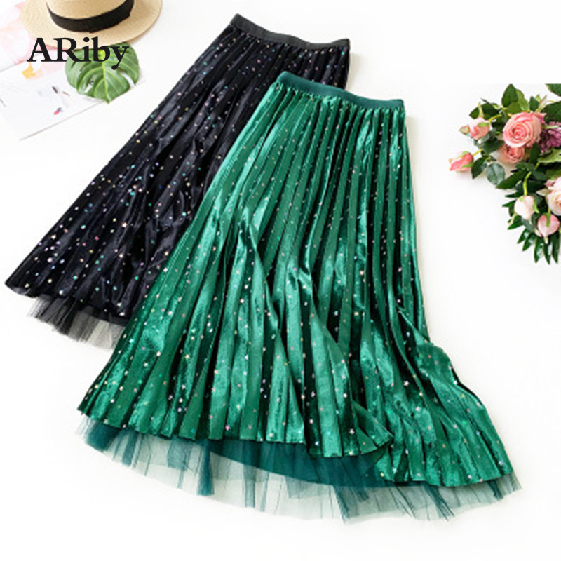 ARiby Gold Velvet Pleated Skirt Autumn&Winter Colored Stars Double-sided Pleated Skirt High Waist Mesh Korean Fluffy Fairy Skirt