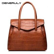 Leather Ladies Hand Bags Women Alligator Bag  Crocodile Patchwork Shoulder Large Capacity Top-handle