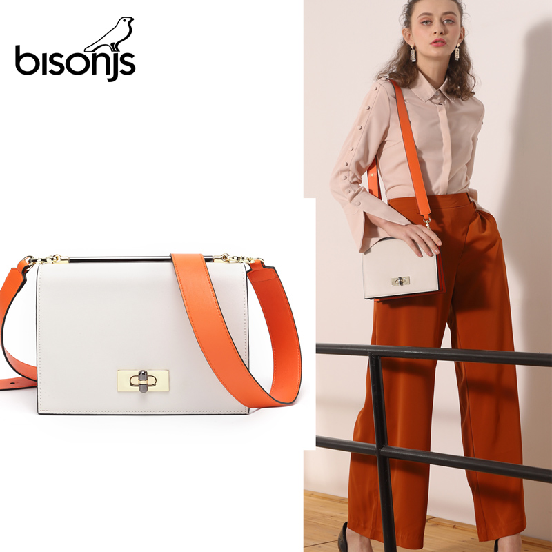 BISONJS Luxury Handbags Women Bags Designer Cow Leather Crossbody Bags For Women  Female Box Shoulder Bags B1615