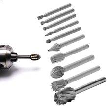 10pcs Rotary File Electric Grinding Polishing Head Engraving Cutter Wood Tool l29k