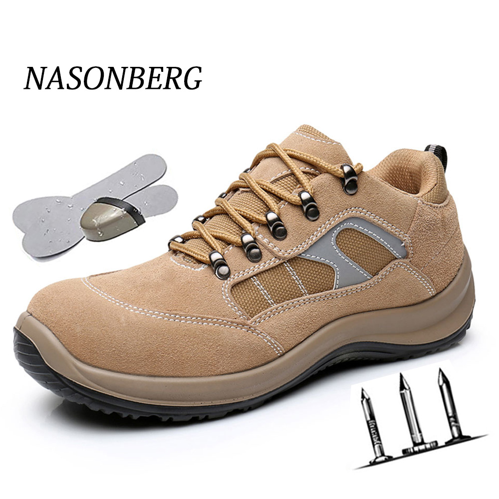 NASONBERG Breathable Lightweight Men Safety Shoes Steel Toe Work Shoes For Men Anti-smashing Construction Sneaker