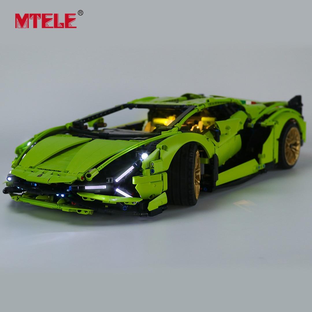 Mtele marca led light up kit para técnica lambogini sián fkp 37 brinquedos compatíveis com 42115