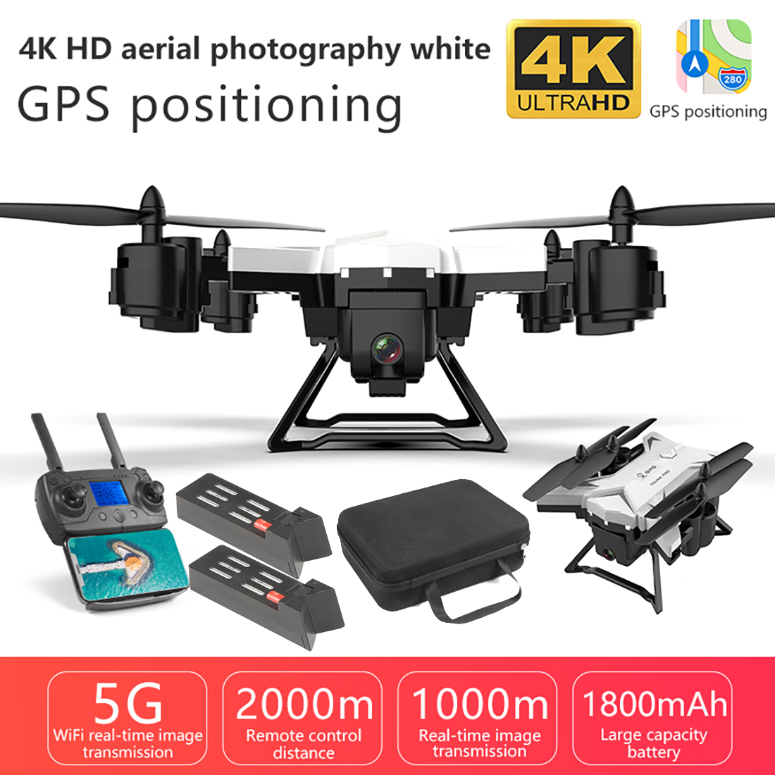 New Pro Folding GPS Drone KY601G 4K HD Camera 5G WIFI FPV Drone LED 2.4G 4CH 1.8km Long Distance 20 Mins Flight RC Quadcopter image