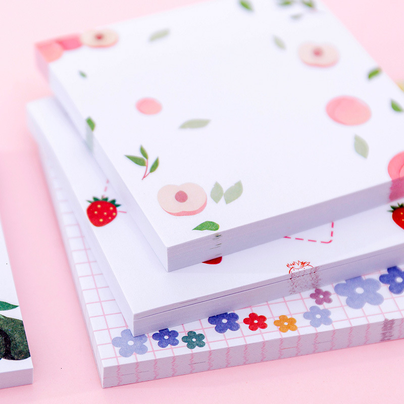 Kawaii Flower Creative Memo Pad Student Sticky Notes Friut Notepad Office Planner Decoration School Stationary Supplies 02141