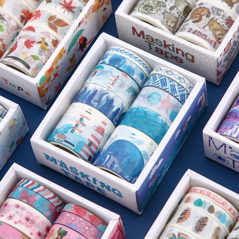 10 PCS Cartoonl Washi Tape Art Journal Decoration Scrapbooking Kawaii Masking Tape Wedding/birthday/bullet Dotted Journal