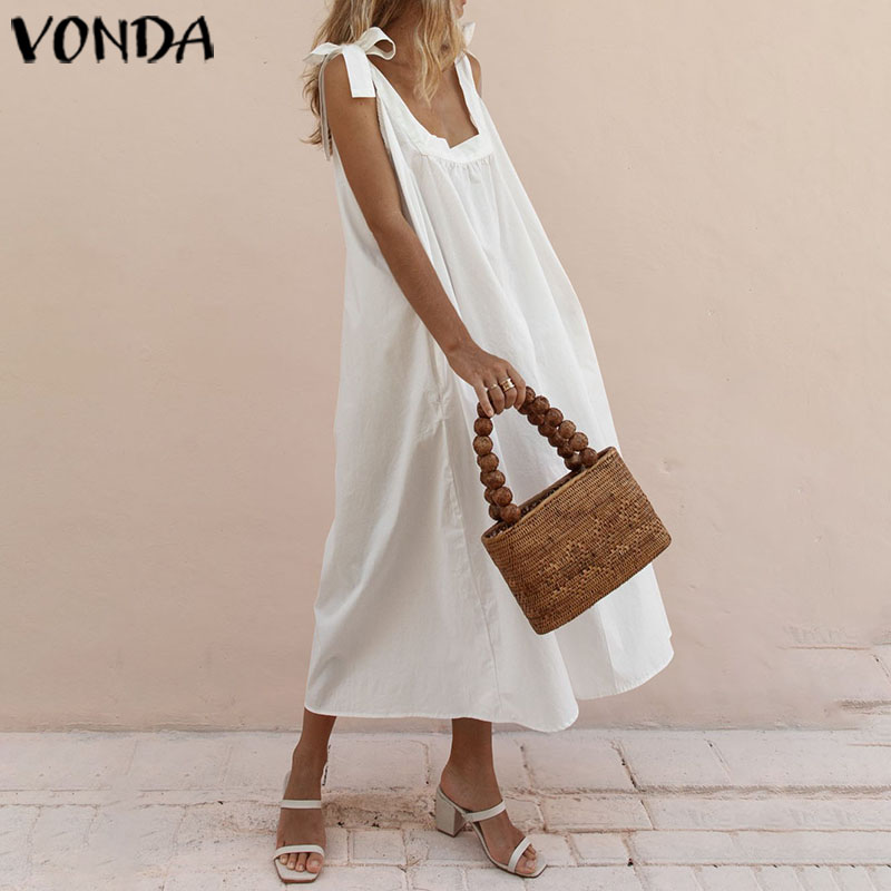 Women's Summer Sundress 2020 VONDA Vintage Casual Cotton Maxi Dress <font><b>Sexy</b></font> Sleeveless Women's Tunic <font><b>5XL</b></font> Vestidos Solid Robe <font><b>Femme</b></font> image