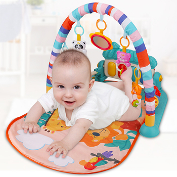 Baby Cartoon Cradle Toys Multifunctional Foot Piano Music Game Fitness Frame Newborn Crawling Mat For Girls Boys
