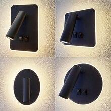 Foco LED de pared de 8W y 3W, lámpara de lectura, luz nocturna para cabecera, dormitorio, iluminación interior, rotación de 360