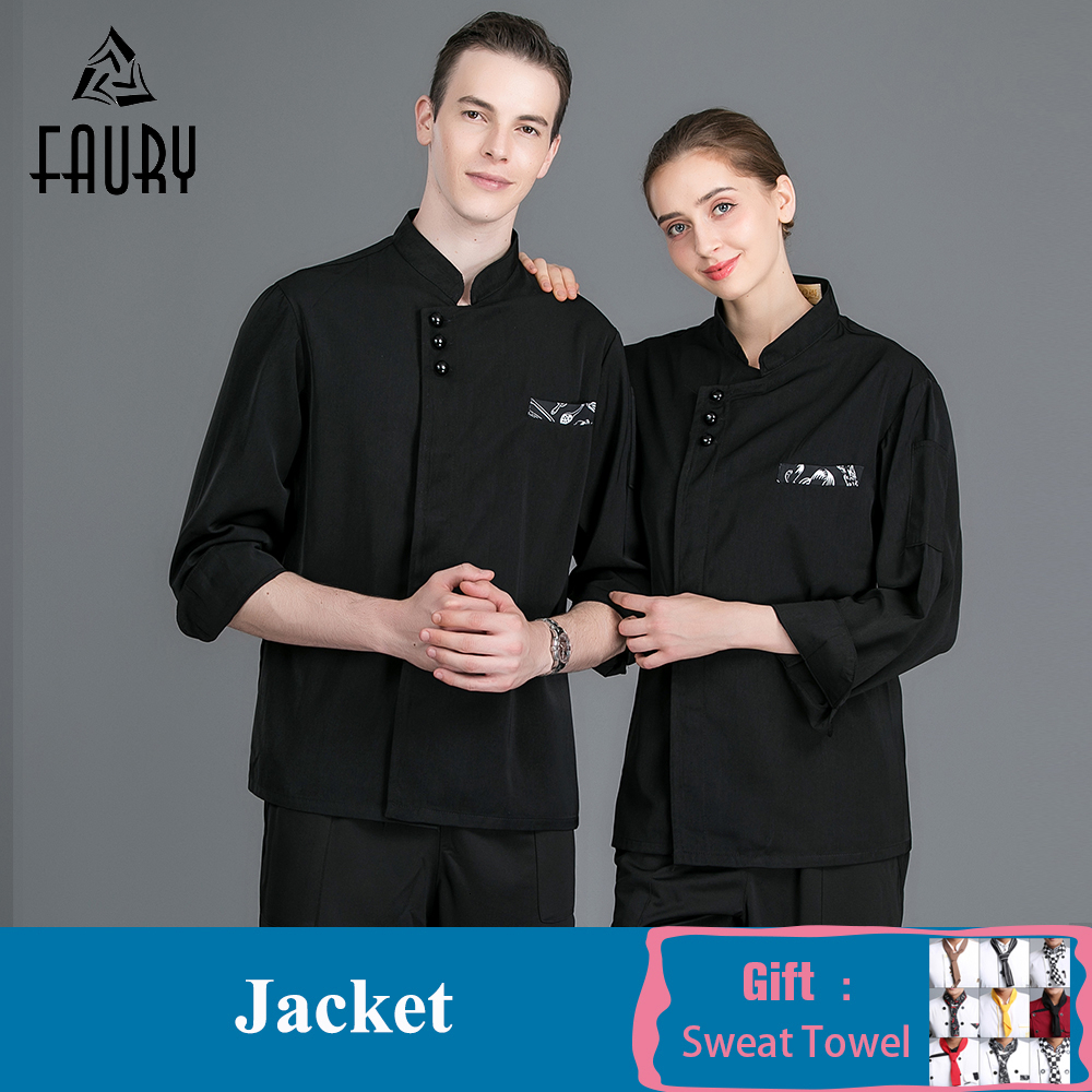 Chef Waiter Uniform Long Sleeve Black Chef Jacket Coat Unisex Cooking Shirt Food Service Restaurant Kitchen Hotel Barber Clothes