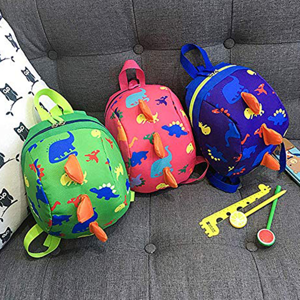 Backpack Children's Cartoon Zipper School Bag Backpack With Anti-lost Traction Rope Cute Children's Printed Nylon Backpack